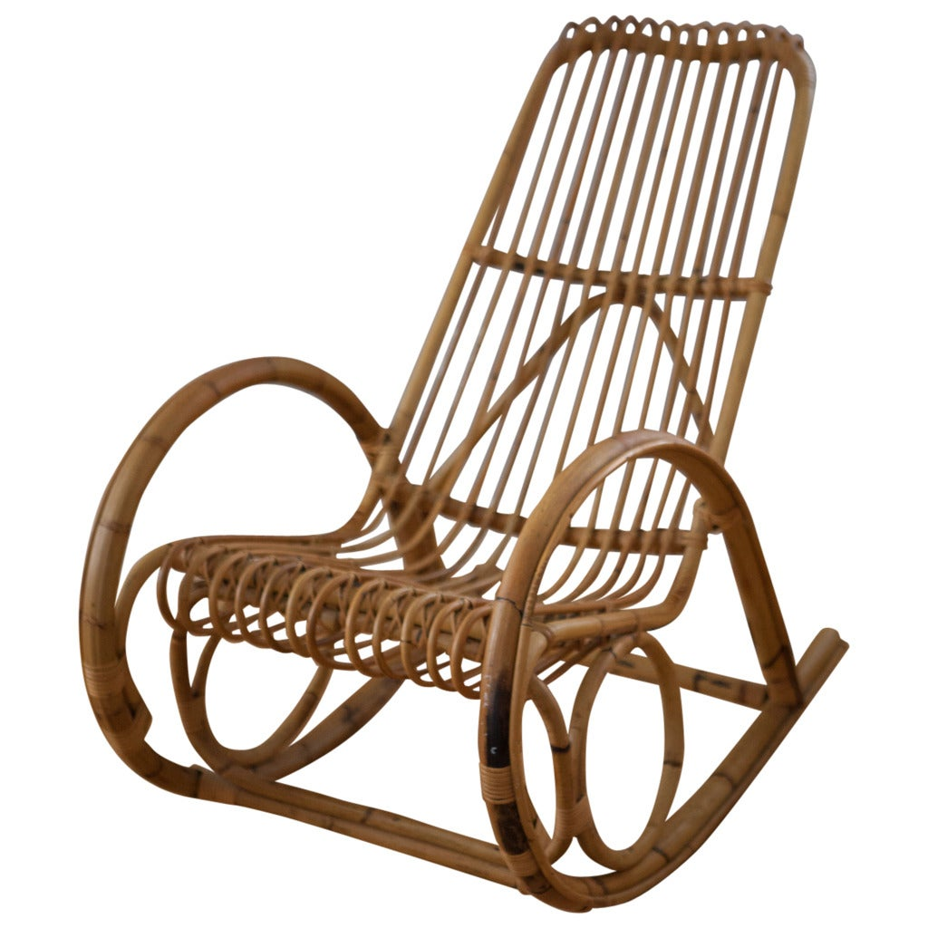 Franco albini style rattan rocking chair at stdibs