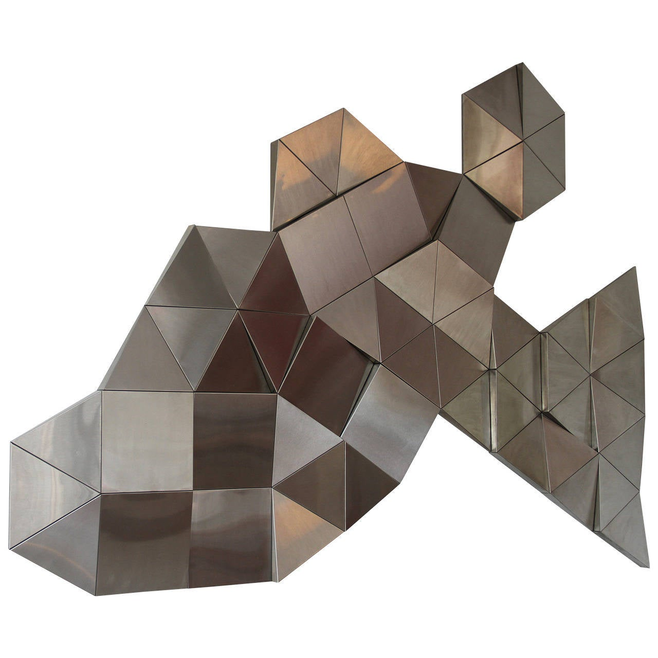 1970 stainless steel modular wall sculpture at 1stdibs for Stainless steel wall art