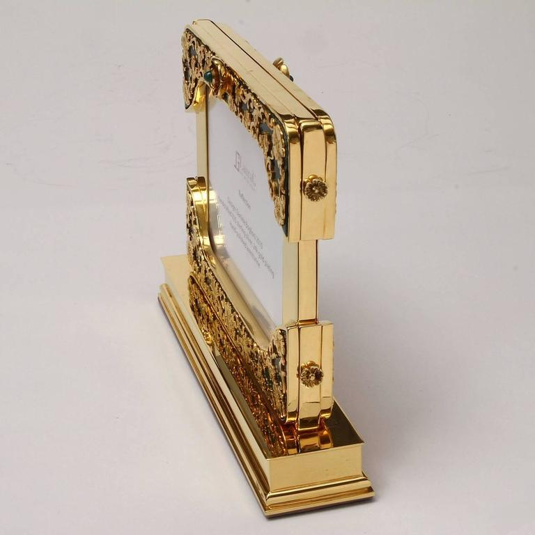 Arts and Crafts 21 Century Gilt Silver Floral Double Photo Frame, Reflection For Sale