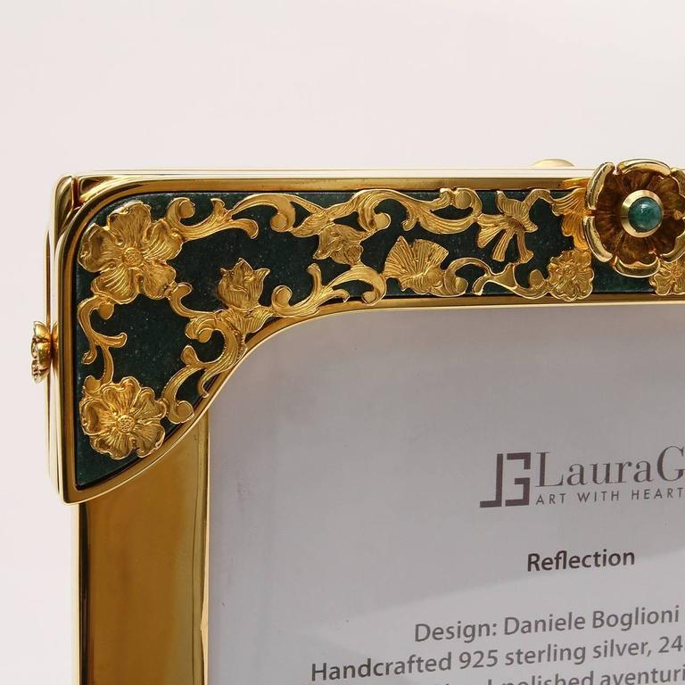 Italian 21 Century Gilt Silver Floral Double Photo Frame, Reflection For Sale