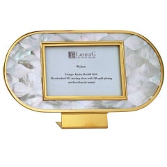 Art Deco Gilt Silver and Mother of Pearl Mosaic Picture Frame, Wisdom