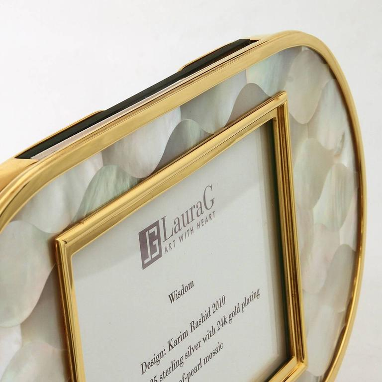 Post-Modern Golden Silver and Mother of Pearl Italian Picture Frame, Wisdom  For Sale