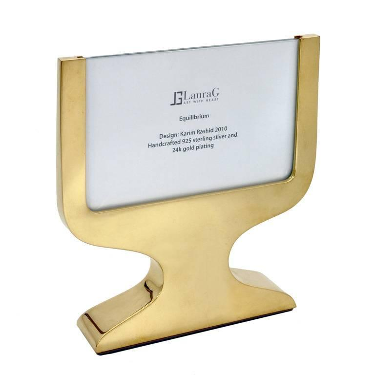 Karim Rashid Italian Square Gilt  Silver Double Picture Frame, Equilibrium Gold