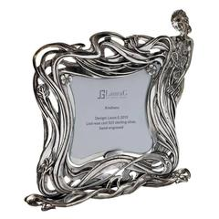 Italian Art Nouveau Handcrafted  Silver Picture Frame, Kindness