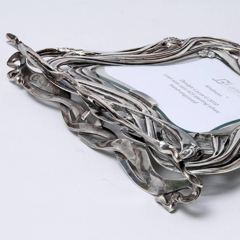Contemporary Italian Art Nouveau Handcrafted  Silver Picture Frame, Kindness For Sale