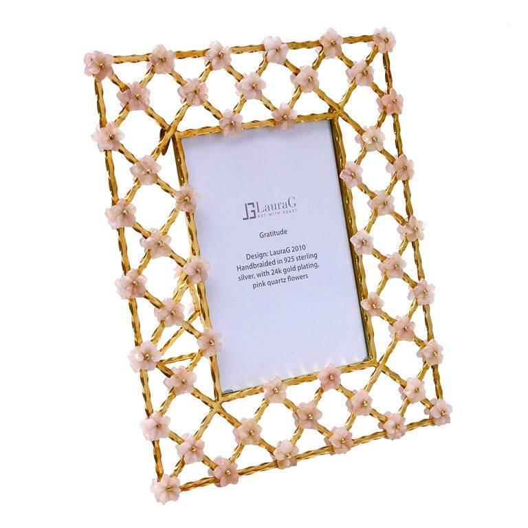 Vintage Gilt Silver Floral Frame with Pink Quartz Flowers, Gratitude  For Sale