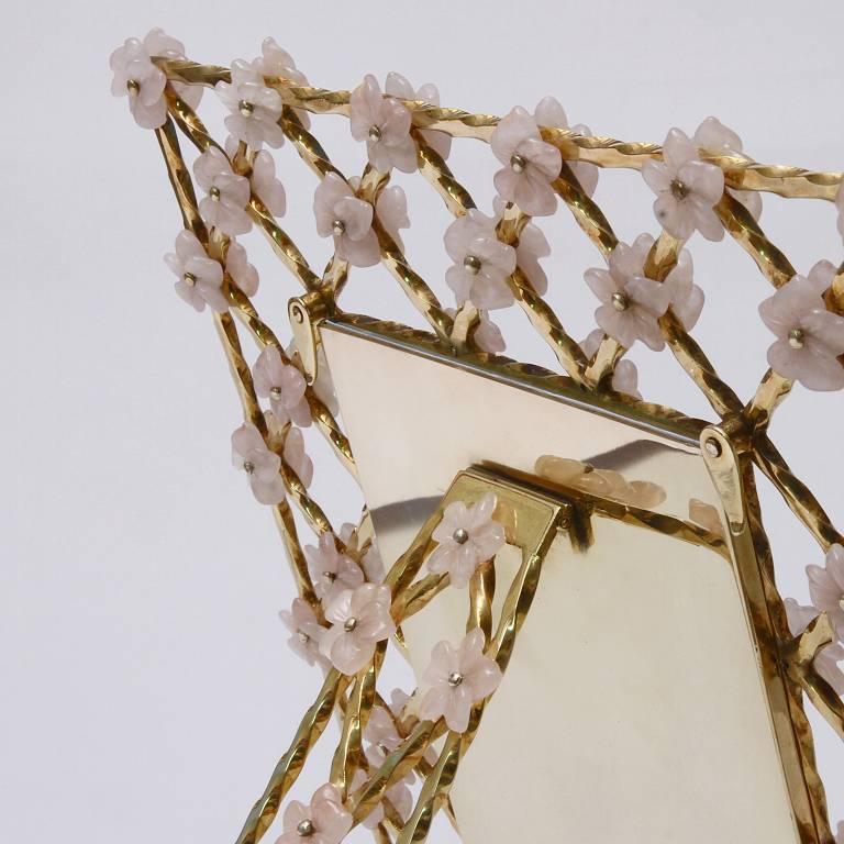 Romantic Vintage Gilt Silver Floral Frame with Pink Quartz Flowers, Gratitude  For Sale