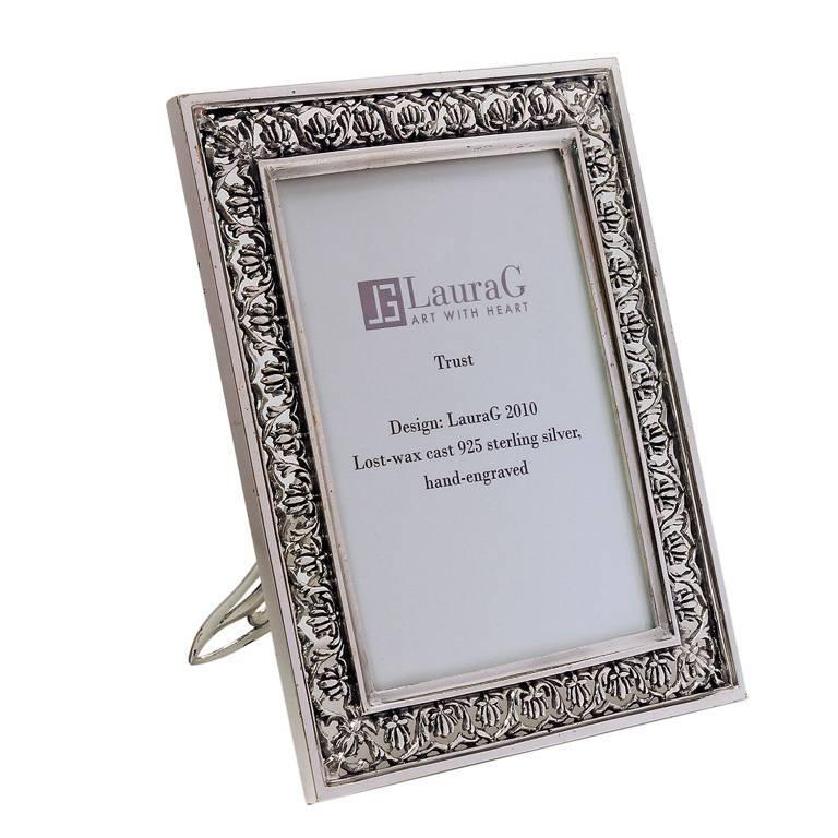 Arts and Crafts Italian  Silver Handmade Picture Frame, Trust