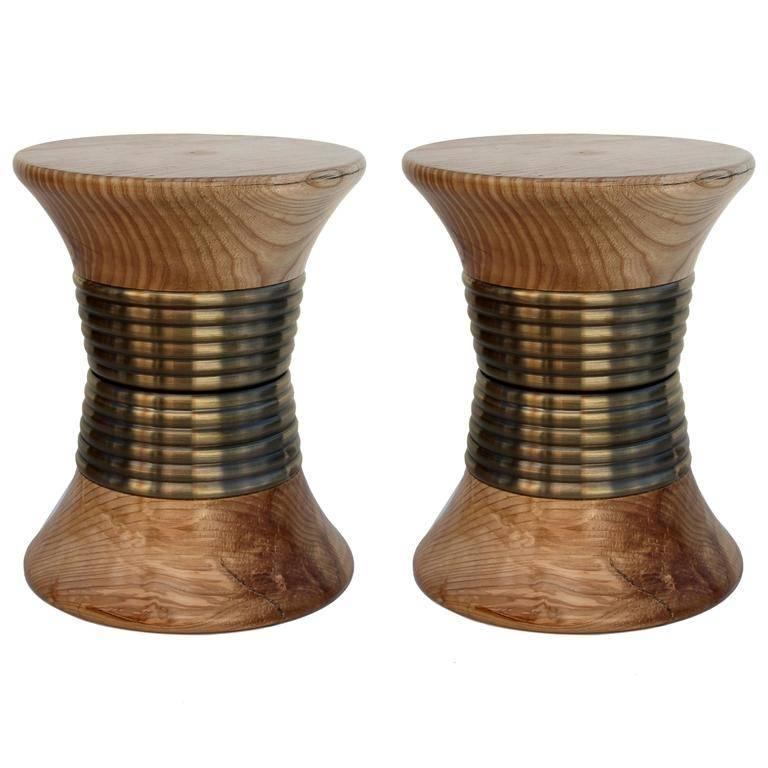 Pair of European Modern Wood and Brass Padaung Stool Side Tables by Brabbu 1