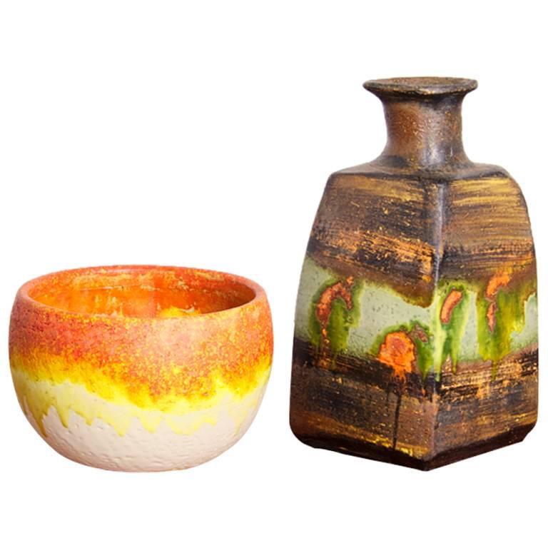Set of Two Marcello Fantoni Ceramic Vases, Italy For Sale