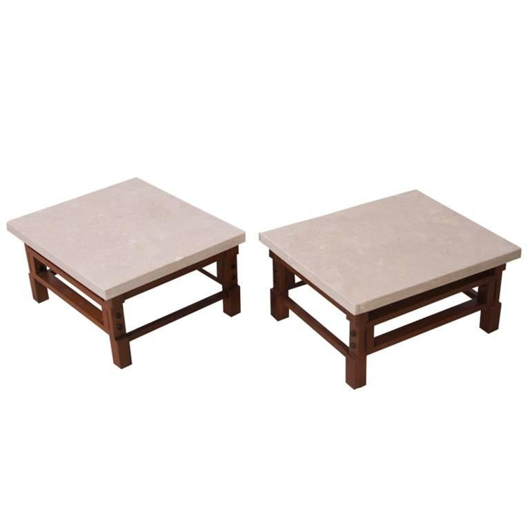 Pair Gianfranco Frattini Side Tables with Travertine Top