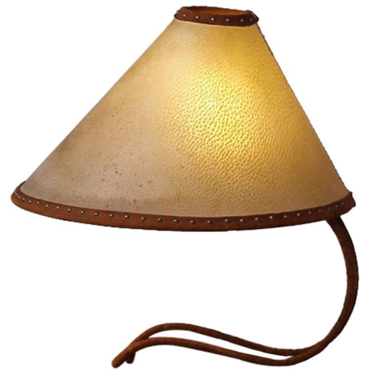 1940s Leather Shade Table Lamp Austria 1