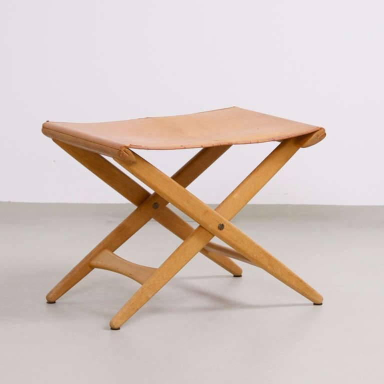 Luxus Vittsjö folding stool in original condition with natural leather cover.