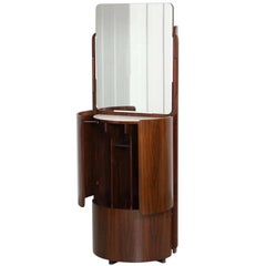 Round Italian Swivel Fold-Out Wardrobe or Vanity in Wood by Fiarm, 1960s
