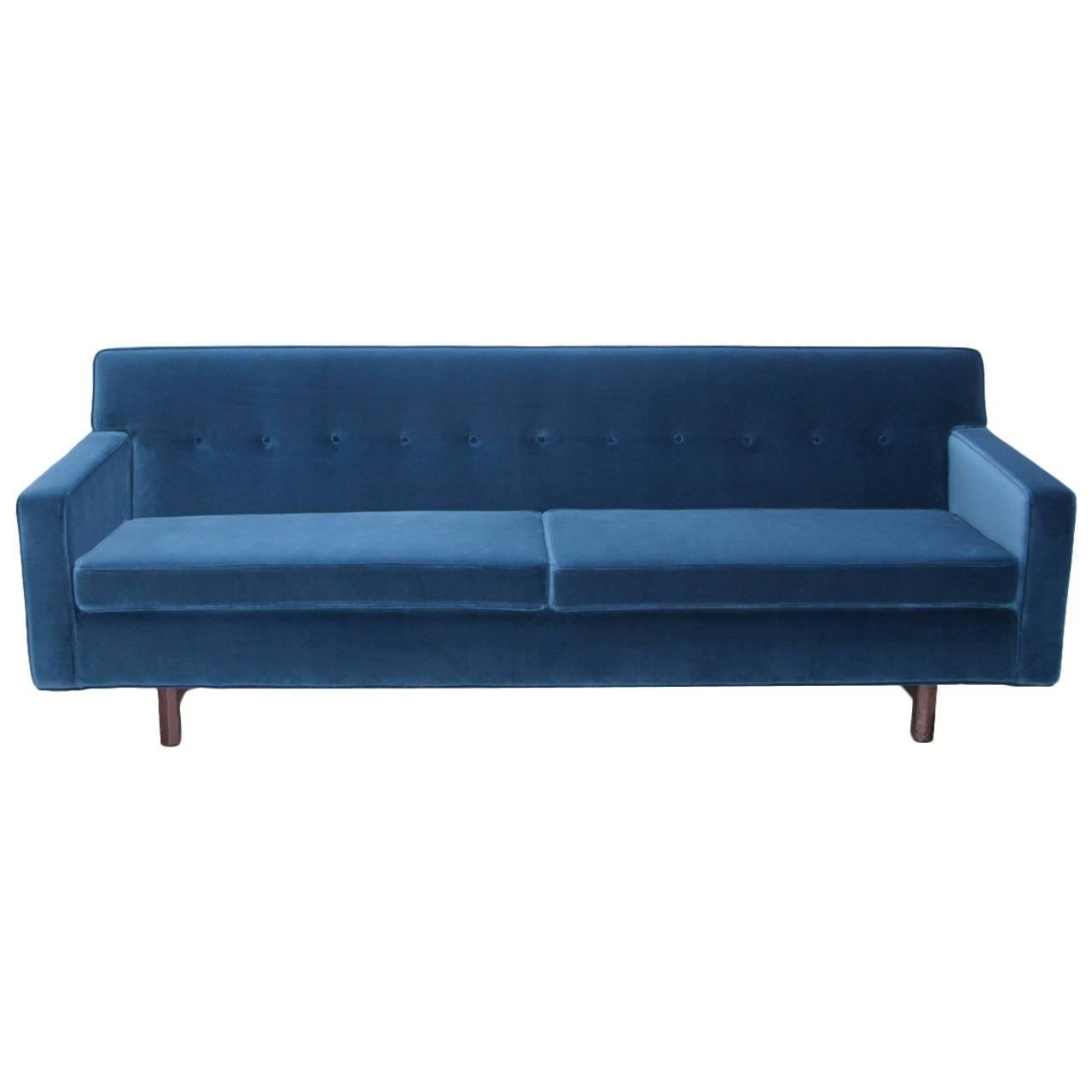 New Upholstered Edward Wormley Sofa In Indigo Dedar Fabric For Dunbar For Sale At 1stdibs