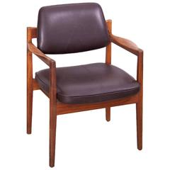 Jens Risom Armchair in Walnut and Leather by Jens Risom Inc.