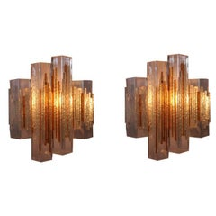 Pair of Cubic Glass Wall Sconces in the style of Poliarte, Italy, 1960s