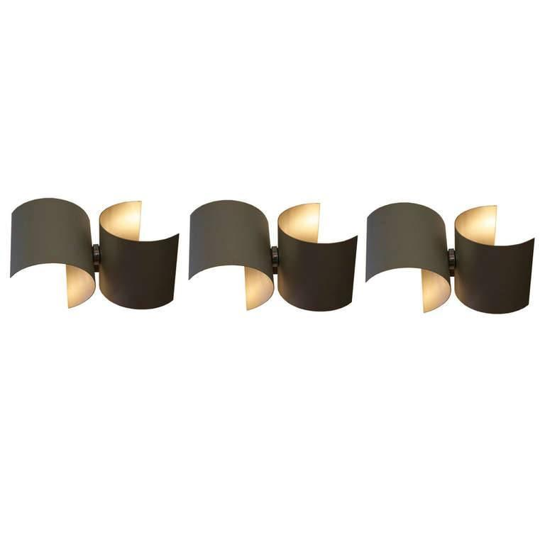 Set of Three Wall Lamps in Metal by Nucleo for Sormani, Italy, 1960s