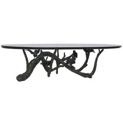 Large and Heavy Bronze Tree Birds Coffee Table in the Manner of Giacometti