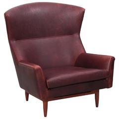 Rare Large Jens Risom Lounge Chair in Leather