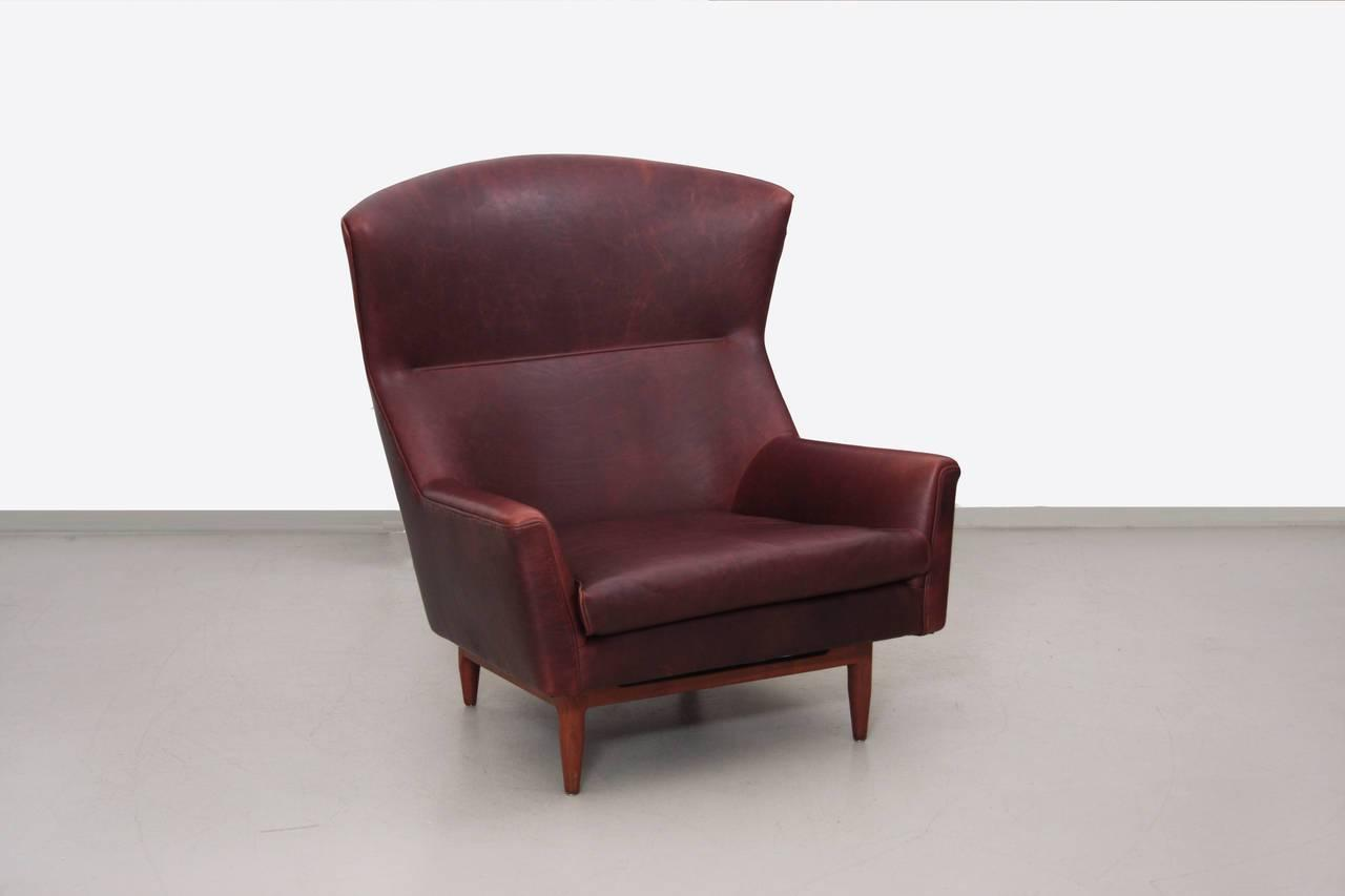rare large jens risom lounge chair in leather for sale at 1stdibs