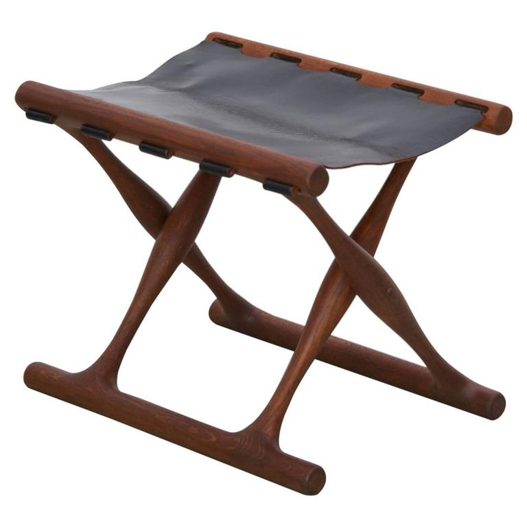 Signed Guldhoj Teak And Leather Folding Stool By Poul Hundevad For Vamdrup