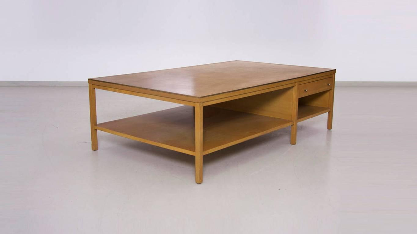 rare paul mccobb coffee table with leather top for calvin for sale at