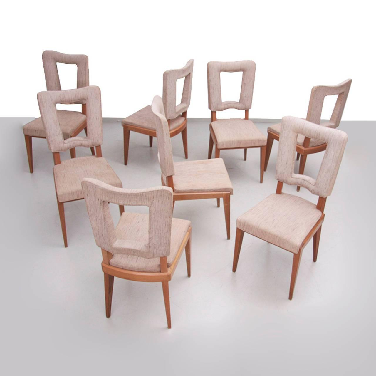 Set Of Eight French Art Deco Solid Oak Dining Chairs At