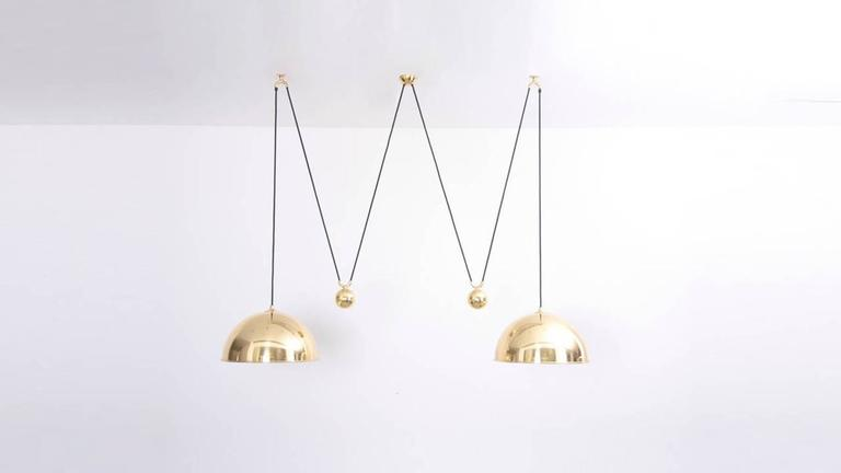 Mid-Century Modern Florian Schulz Double Posa Pendant Lamp with Side Counter Weights