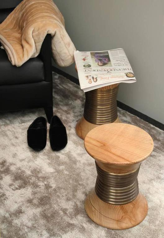 Pair of European Modern Wood and Brass Padaung Stool Side Tables by Brabbu 5