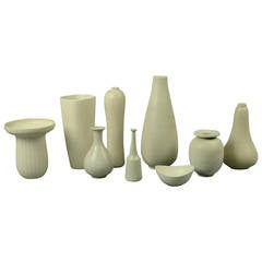 Group of Nine Vessels with Matte White Glaze by Gunnar Nylund for Rorstrand
