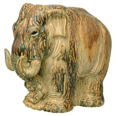 Large Stoneware Elephant with Dripping Glaze by Knud Kyhn for Royal Copenhagen
