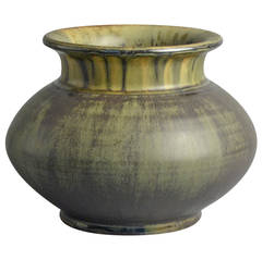 Stoneware Vase with Olive Green Glaze by Carl Halier