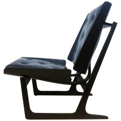 Bentwood and Leather Danish Sleigh Lounge Chair