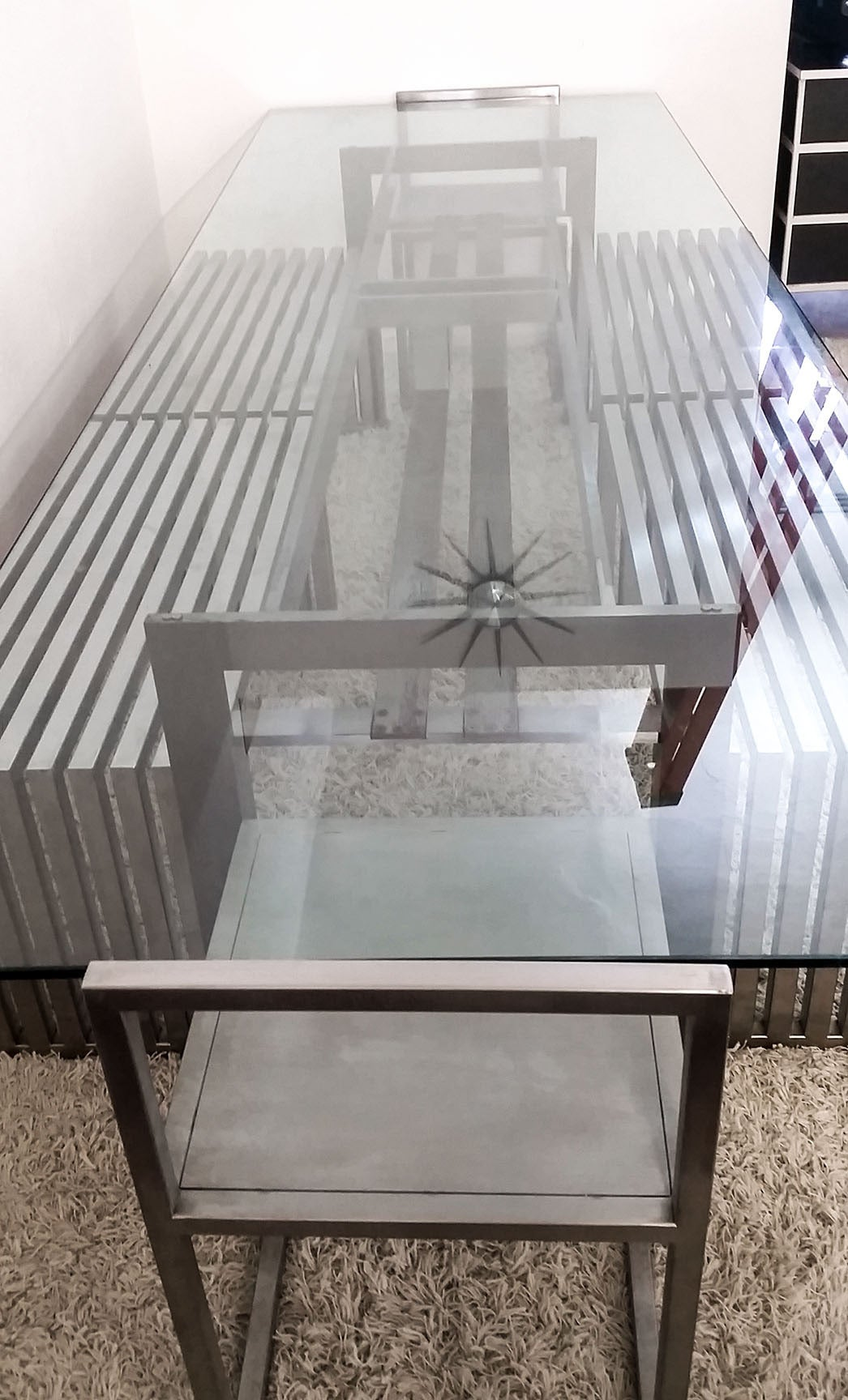 Contemporary Philipp Plein Steel Dining Suite with Chairs and Benches For Sale