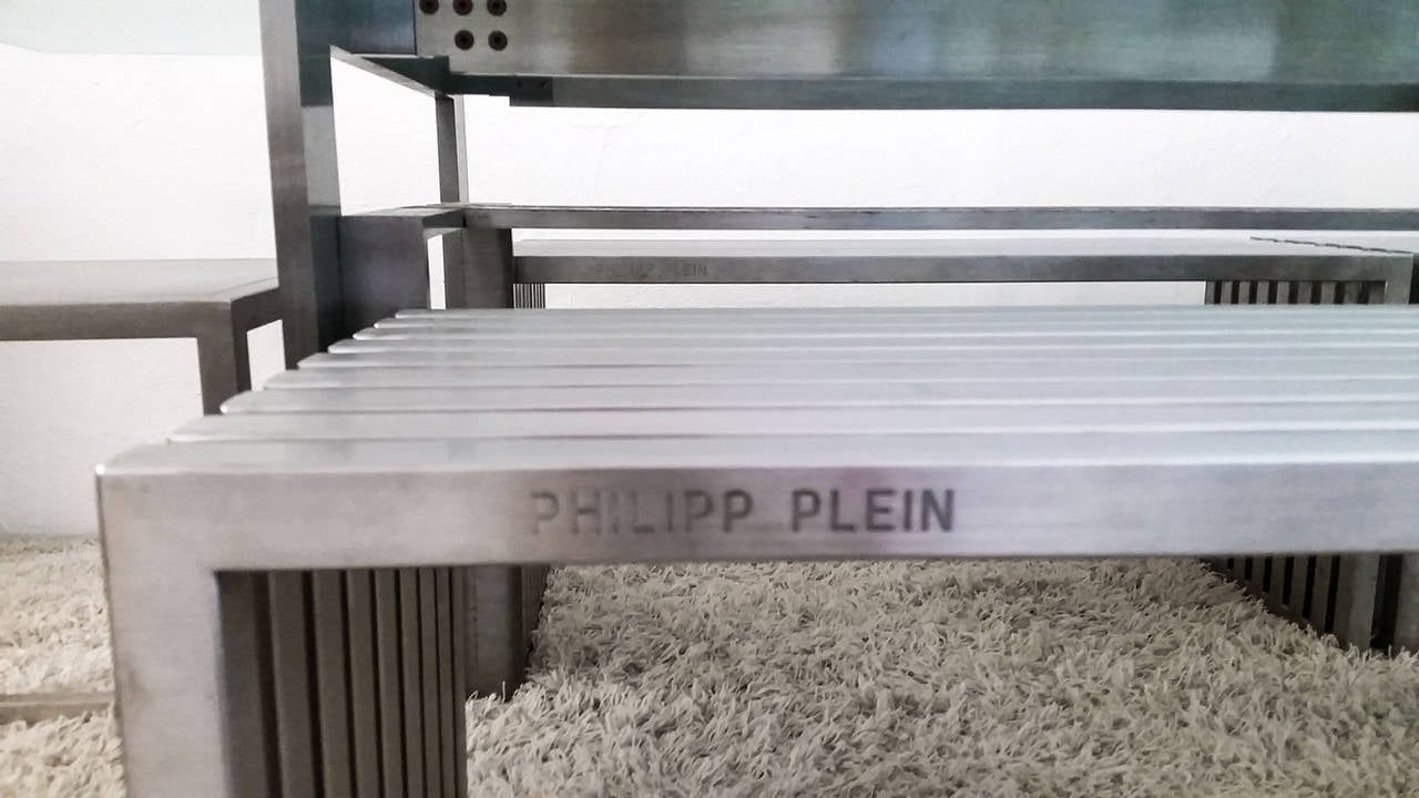 Philipp Plein Steel Dining Suite with Chairs and Benches For Sale 2