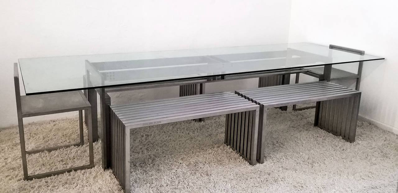 Philipp Plein Steel Dining Suite with Chairs and Benches For Sale 1