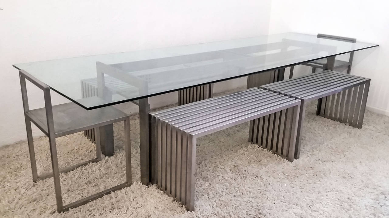 An incredible dining suite designed by Phillipp Plein. This set, as well as much of Plein's furniture is a limited run design, as every piece is handcrafted to maintain an impeccable quality control that only a high luxury brand like Philipp Plein