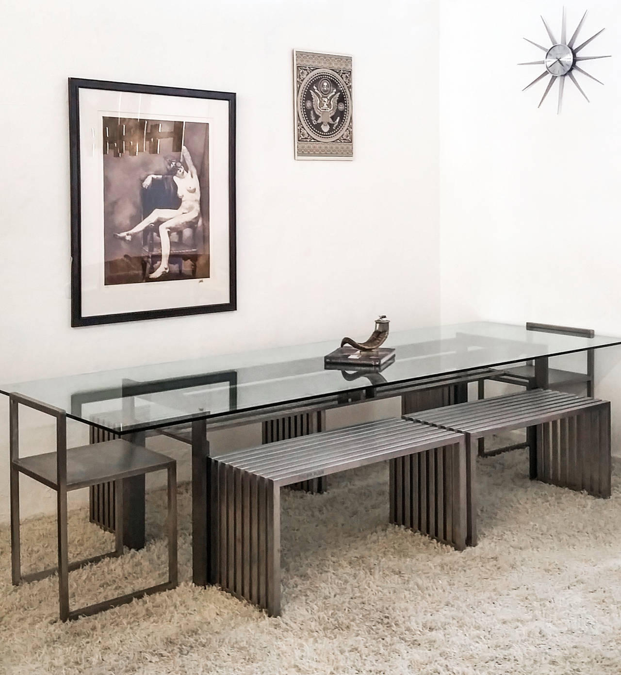 Modern Philipp Plein Steel Dining Suite with Chairs and Benches For Sale