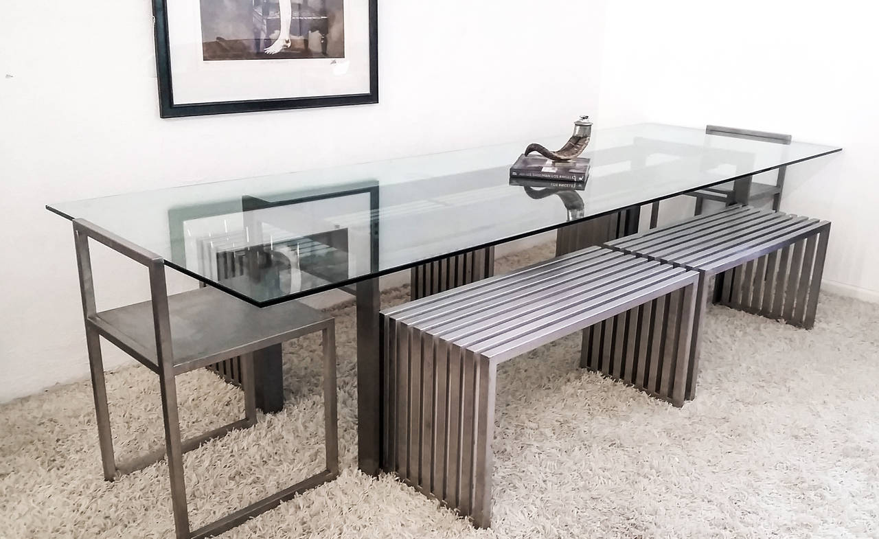 Philipp Plein Steel Dining Suite with Chairs and Benches In Good Condition For Sale In Tempe, AZ