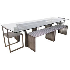 Philip Plein Steel Dining Suite with Chairs and Benches