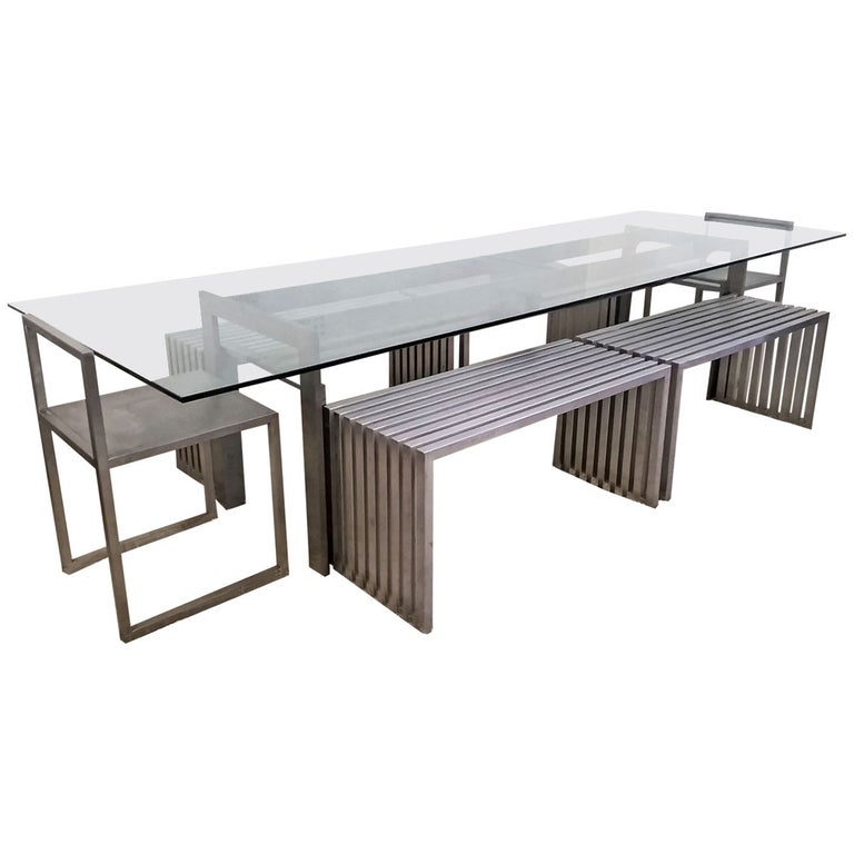 Philipp Plein Steel Dining Suite with Chairs and Benches For Sale