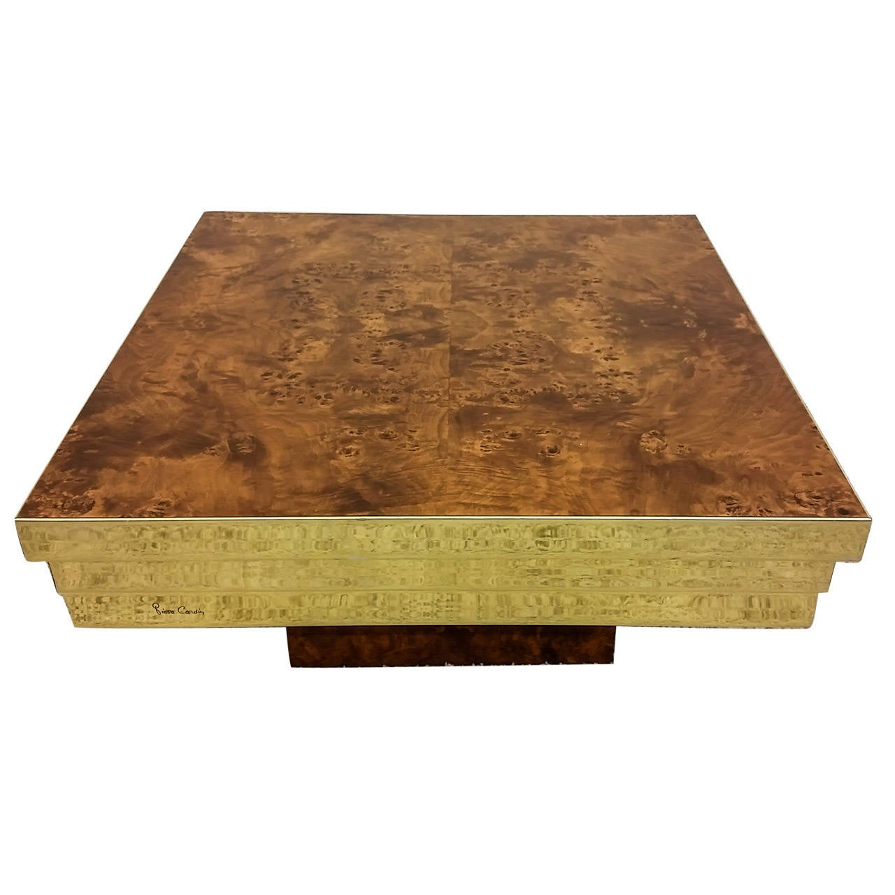 Attractive Pierre Cardin Brass And Burl Coffee Table 1