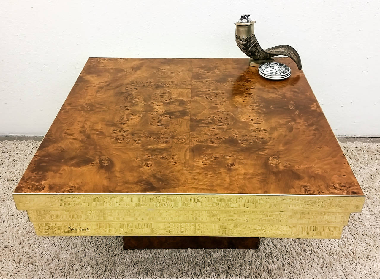 Pierre Cardin Brass And Burl Coffee Table At 1stdibs