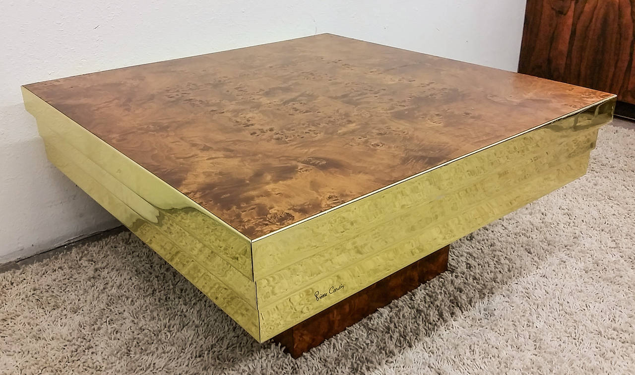Pierre Cardin Brass And Burl Coffee Table 3