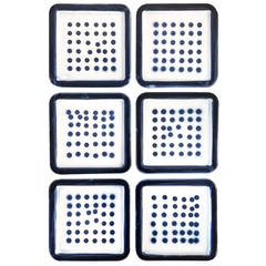 Set of Six Roger Capron Signed Ceramic Tile Wall Hangings