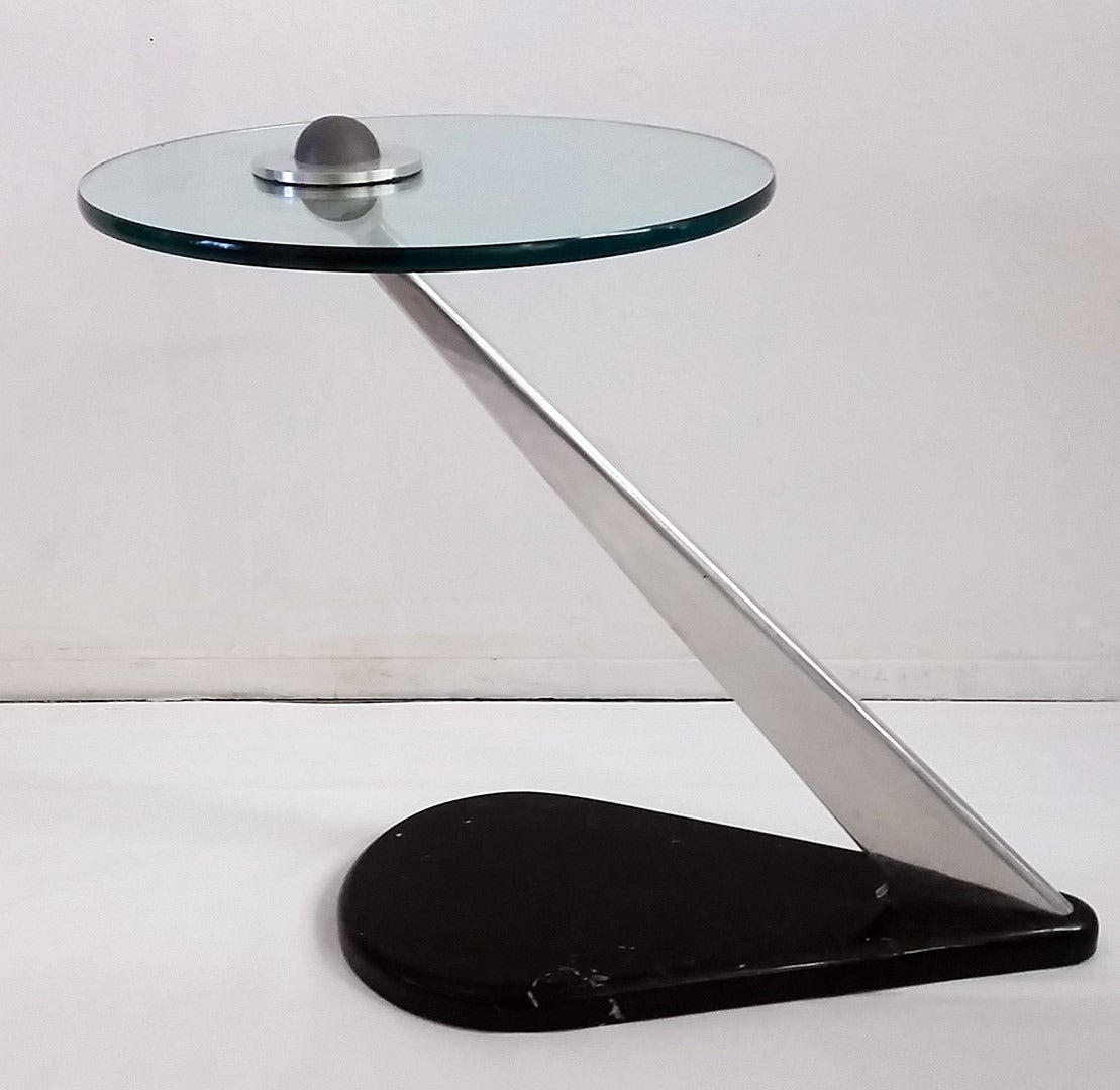 Stainless Steel Glass And Marble Base Side Table In The
