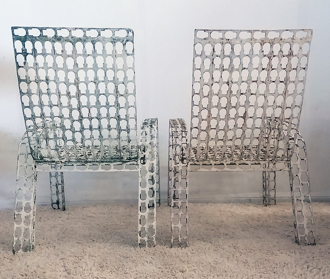 Late 20th Century Folk Art Pressed and Welded Steel Lounge Chairs For Sale