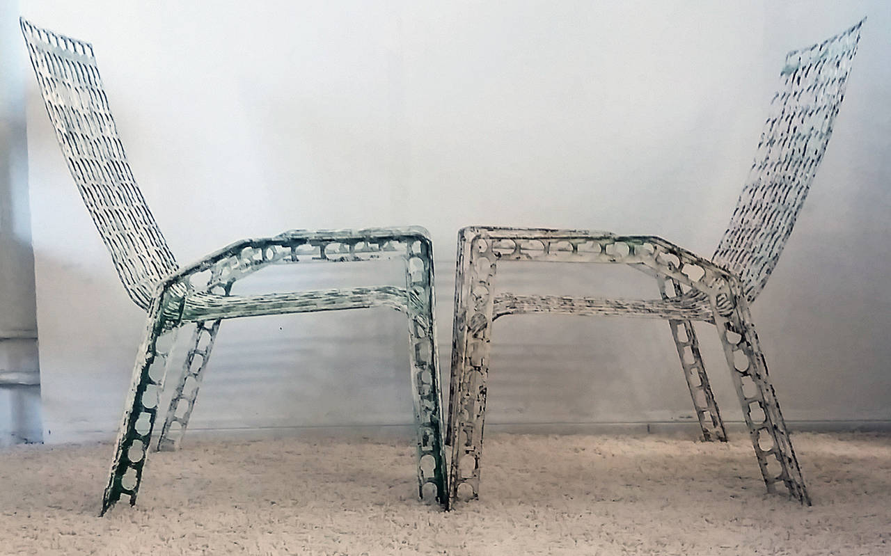 Metal Folk Art Pressed and Welded Steel Lounge Chairs For Sale