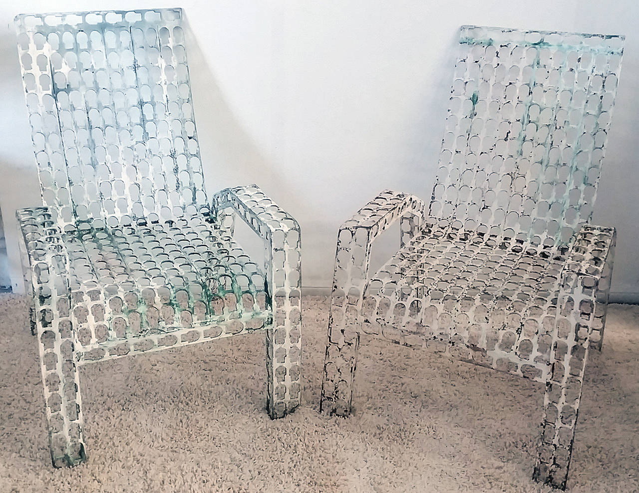 Folk Art Pressed and Welded Steel Lounge Chairs For Sale 1